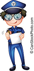 A policeman with a pen and paper
