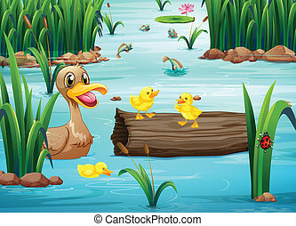 A pond with animals - Illustration of a pond with animals