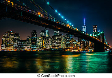 a, ponte brooklyn, e, skyline manhattan, à noite, visto, de, bro