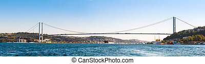 a, ponte, ligado, bosphorus, (panorama)