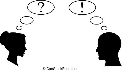 a, ponto de exclamação, e, marca pergunta, negócio, ícone, junto, femininas, e, macho