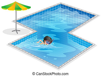A pool with a kid swimming