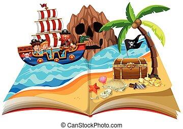 A pop up book pirate theme