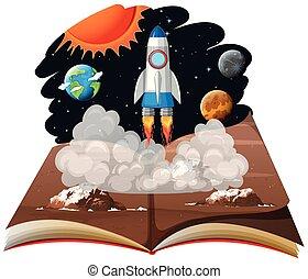 A pop up book space scene