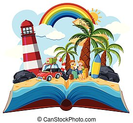 A pop up book summer theme