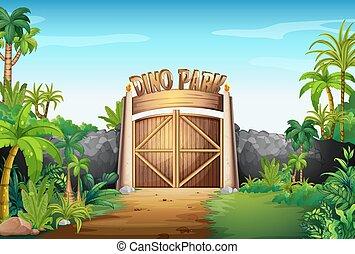 a, portão, de, dino, parque