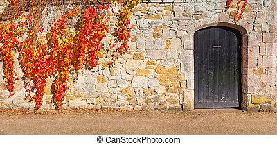 a, porta, e, parede pedra