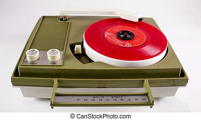 a portable vintage record player