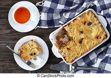 a portion of tasty apple crumble