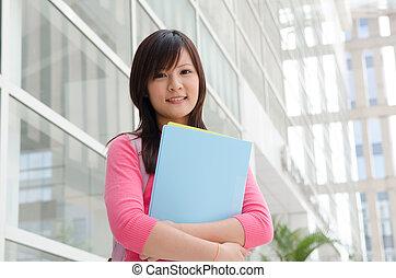 a, porträt, von, ein, asiatisch, student, auf, campus