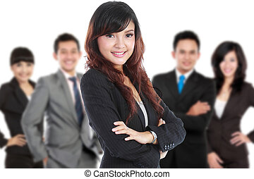 Group of asian young businessperson, woman as a team leader stan