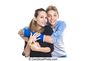 Portrait of a beautiful, happy mother and son