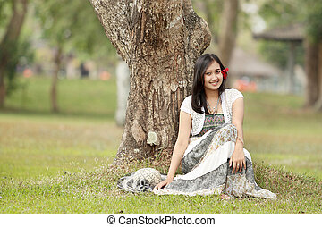 A portrait of a beautiful young asian woman