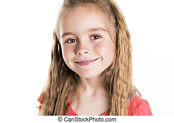 Portrait of a cute 7 years old girl Isolated over white background