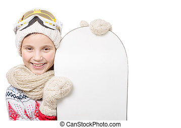portrait of a happy young girl snowboarding