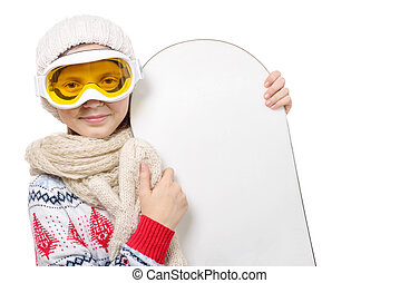 portrait of a happy young girl with snowboard