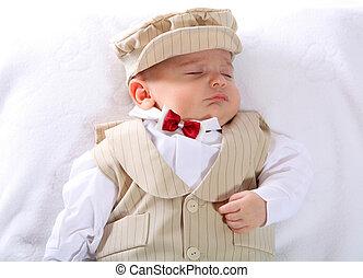 A portrait of a newborn baby boy