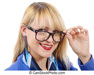 portrait of a pretty blonde woman with glasses , on white