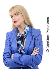 portrait of a pretty young woman in blue suit