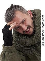 A portrait of a sad terrorist