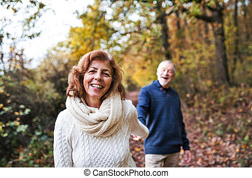 A portrait of a senior couple walking in an autumn nature.