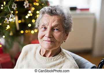 A portrait of a senior woman in wheelchair at home at Christmas time.