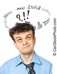 A portrait of a young comic businessman lost in thoughts - search of employment. Isolated on a white background