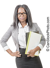portrait of an african american businesswoman with black eyeglasses