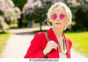 elderly stylish woman