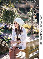 A portrait of beautiful asian woman in garden