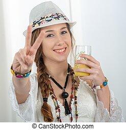 portrait of beautiful hippie girl