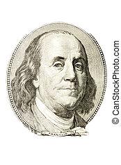 A portrait of Benjamin Franklin from 100 dollar bill.