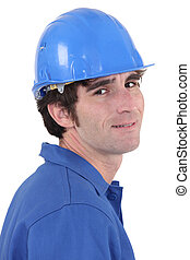 A portrait of construction worker.