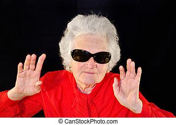 a portrait of elderly woman