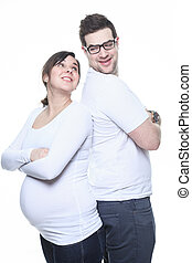 A Portrait of happy pregnant woman isolated over white backgroun