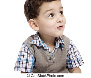 A Portrait of little boy over white background