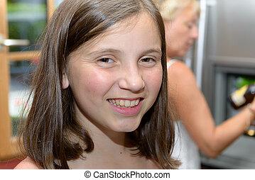 portrait of pretty beautiful young teenage
