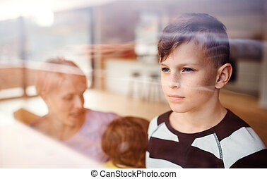 A portrait of small boy with family at home, looking out of window.
