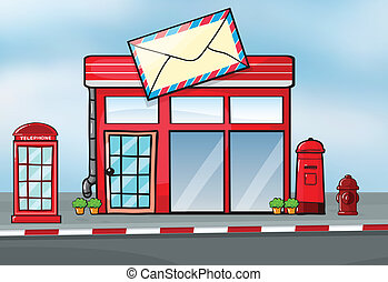 A post office - Illustration of a post office near a street