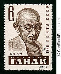 Mahatma Gandhi - A postage stamp shows Mahatma Gandhi...