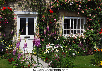 English cottage garden - A postcard view of English cottage...