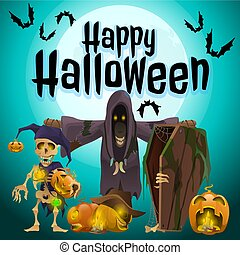 A poster on the theme of the Halloween holiday. Vector illustration.