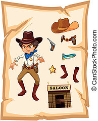 A poster with an angry cowboy - Illustration of a poster...