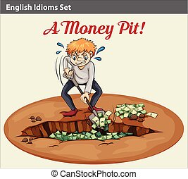English idiom showing the wealth at the pit