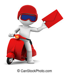 Postman with scooter delivering mail. Isolated
