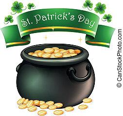 A pot full of golds - Illustration of a pot full of golds on...