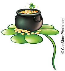 A pot of coins above a green plant - Illustration of a pot...