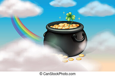 A pot of coins with a clover plant - Illustration of a pot...