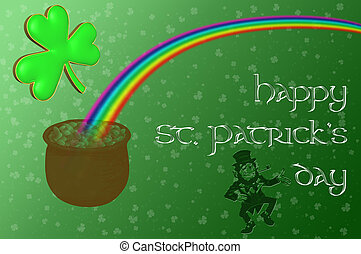 A pot of gold at the end of the rainbow with a Happy Saint Patrick's day message displayed on a green background