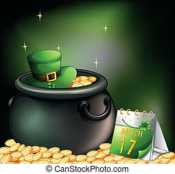 Illustration of a pot of gold coins with a hat and a calendar